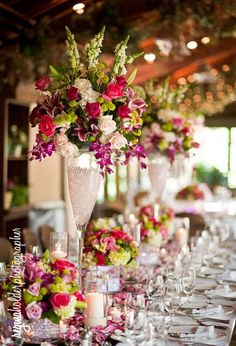 Tall floral wedding centerpieces.