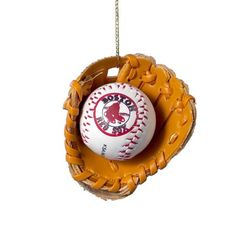 Boston Red Sox mini Baseball in Mitt Holiday Ornament - get it at ENTHOOZES 3 Cherry St Walden NY
