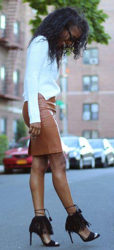 Top Zara SS2015, Skirt Bershka, Heels Zara SS2015  stylenina.com