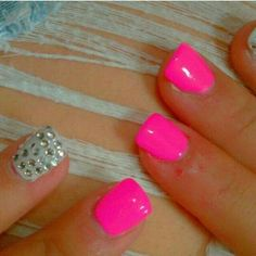 gorgeous hot pink nails with rhinestone accent nails Hot Pink Nails, Love Nails, How To Do Nails, Pretty Nails, Bright Pink Nails, Bright Colors, Pink Color, Acrylic Nails, Gel Nails