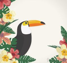 Tropical flowers and the Toco Toucan vector