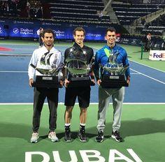 Dubai Tecau [Romania] and Jean Julien Roier won at doubles --Andy Murray won at simple. Andy Murray, Rafael Nadal, Roger Federer, Tennis Players, Dubai 2017, Champion, Basketball Court, Baseball Cards, Romania