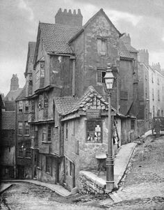 """The junction of Steep Street and Trenchard Street, Bristol, England 1866 [[MORE]] Some detail: John Hill Morgan (b platinum print. """"R Holloway Dealer in Marine Stores"""" Locals would have called this a """"rag and bone shop"""". Victorian London, Victorian Street, Vintage London, London 1800, Victorian Ladies, Victorian Era, Vintage Pictures, Old Pictures, Old Photos"""