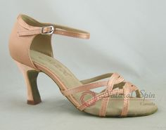 Natural Spin Basic Latin Shoes(Open Toe):  L1116-08_FleshES