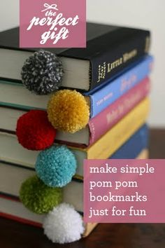 Adorable Pom-Pom bookmark for any bookmark, whether it be a gift to a friend, or a gift to you!