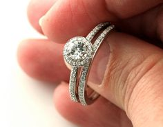 2.00 Ct Round Diamond Engagement Halo Wedding Ring Set in 14k White Gold Over #RegaaliaJewels #SolitairewithAccents