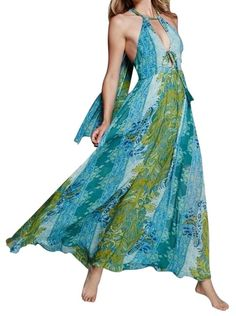 fbd2cd8fab39 Free People Blue Printed Maxi Open Back Long Draped Gown Small Maxi Dress  Bohemian Print