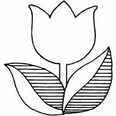 Coloring Book Flowers Outline | Tulip Flower Free Coloring Sheet