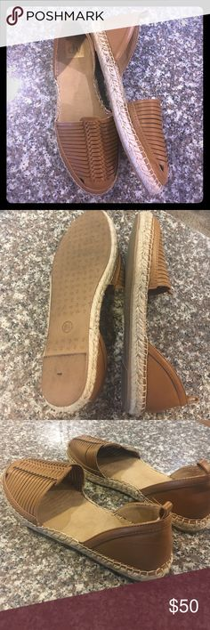 Dolce Vita espadrilles cognac slip ons size 8.5 Incredibly comfortable and in perfect condition. Padded soles make them great for running errands, traveling, or work. Cognac faux leather and espadrilles sole. Size 8.5 and true to size. Dolce Vita Shoes Espadrilles