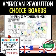 American Revolution Choice Board Activities (Paper and Google Drive Versions)VISIT MY STORE AND FOLLOW TO GET UPDATES WHEN NEW RESOURCES ARE ADDED Also Included in World History MEGA BUNDLE Part 2Also Included in World History Part 2 Choice Board BUNDLEAlso Included in American Revolution BUNDLEIncluded:3 Choice Boards27 Activities58 Activity Pages (B/W and color) (Digital and Paper Option)Also Included in World History MEGA BUNDLE Part 2Instructions for using this packet: Option 1: These…