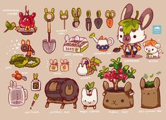 """""""🐰 Himalayan Rabbit Gardener 🥕🍎🌱Based loosely on our gardening supplies but def not as cute. Cute Animal Drawings, Kawaii Drawings, Cute Drawings, Cute Food Art, Cute Art, Food Drawing, Cute Doodles, Kawaii Art, Cute Illustration"""