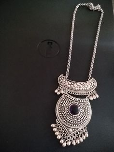 German Silver Oxidised Chain Pendant Set