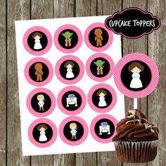 "Pink and Black Star Wars Birthday Party Cupcake Toppers, Lego  Printable Stickers, Party Tags, 2"" Circles, Instant Download by CoastalInvitations on Etsy"