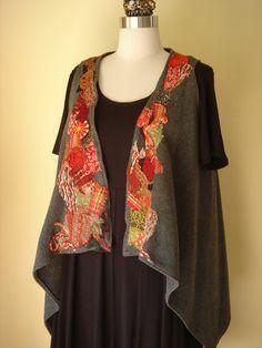 Gayle Ortiz:  fleece vest with free motion kimono scraps