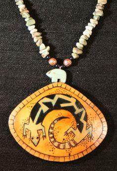 Rock Spirit gourd shard necklace, by gourd artist Carla Bratt.  Series 1 - 2007