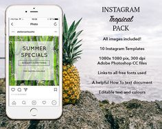 TEMPLATES: Instagram Templates Tropical summer template Instagram Templates, Business Profile, Social Media Template, I Am Happy, Instagram Accounts, Adobe Photoshop, Compliments, My Design, Knowledge