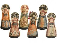 Set of Six Antique Carnival Knock-Down Dolls or Circus Punks at Relique.com