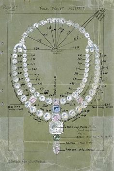 "Drawing of the ceremonial necklace for the Maharajah of Nawanagar, 1931, London Cartier Archives. Jacques Cartier presented the Maharaja with a dazzling project. Sadly, the Maharaja of Nawanagar had little time to wear the ""finest cascade of coloured diamonds in the World"". He died in 1933, two years after the necklace was delivered."