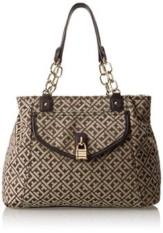 Tommy Hilfiger Chain Lock Shopper Jacquard Shoulder Bag,Dark Chocolate/Ecru,One Size Tommy Hilfiger http://amzn.com/B00J6ALNWO?tag=thep0658-20