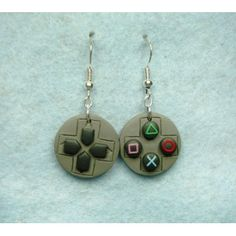 Play Station Pad, pendientes,earrings,fimo,video games,video juegos,sony,play station,