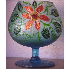 Copa de cristal decorada con cristal gel