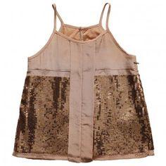 Chloe  Girls Bronze Silk Sleeveless Top with Sequins & 'Chloe' Embroidery