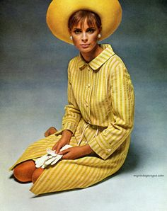 I Magnin & Co 1964 yellow striped day dress shirtwaist button front shirt hat early 60s looks