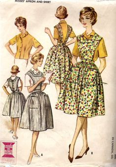 1960s Misses Apron Skirt and Blouse