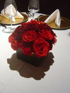 """tags: red gold brown reception flowers ceremony bridesmaids """"centerpiece, chocolate brown, red roses, red ranunculus"""" """"empora floral artistry""""   photo by: empora Floral Artistry  vendor: empora Floral Artistry"""