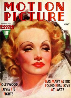 "Marlene Dietrich on the cover of ""Motion Picture"" magazine, USA, July 1937."