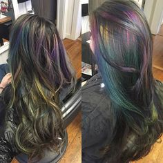 Oil slick refresh before and afters.! Pinning so I don't forget how awesome it is. Thanks again Lynsey! Opal hair, unicorn hair, oilslick