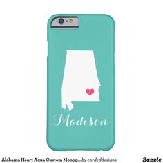 Alabama Heart Aqua Custom Monogram Barely There iPhone 6 Case