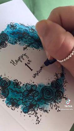 Watercolor Cards, Valentines Watercolor, Watercolor Flowers, Watercolor Paintings, Watercolour, Wreath Drawing, Card Drawing, Cool Art Drawings, Diy Canvas Art