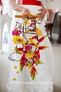Heliconia trailing wedding bouquet