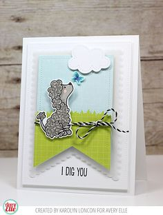 Karolyn Loncon for Avery Elle                  Supplies:  More Furry Friends Clear Stamps  More Furry Friends Dies  Picket Fences Dies  Double Pierced Rectangle Dies  Scalloped Banner Dies  Sorbet Collection 6 x 6 Paper Pad  Midnight Hemp Twine  New Moon Dye Ink