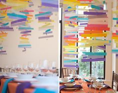 This bright and modern mobile project is perfect for a daytime wedding reception or shower and can be done in any color scheme. It will transform the room and make a big impact!   The best part is this whole project can be made on the cheap--for under $25! Let's get started:  Materials:Vellum paper (we used 14 shades) 56 sheets of paper total $17A sewing machine Fishing weights (not pictured) $5An exacto knife and straight edge (or a stack cutter)Artist tape (for hanging) ...