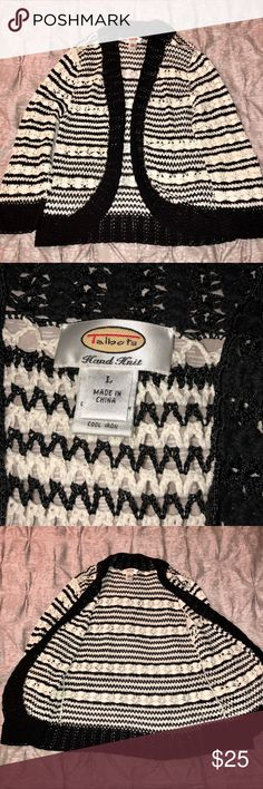 Talbots Hand-Knit Sweater Talbots hand-knit open weave black and white sweater, size large. Shawl collar and bracelet sleeves. This belonged to my mother-in-law and is in excellent condition. Talbots Sweaters Cardigans