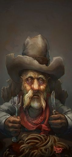 Old Smokey Picture  (2d, illustration, spaghetti, character, cowboy, old man)