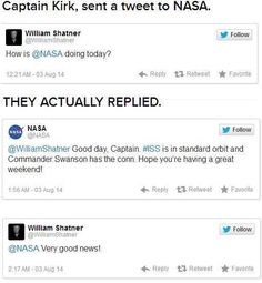 Captain Kirk tweets NASA, they respond. - Don't Hate The Geek