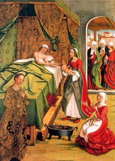 Pedro Berruguete, Birth of the Virgin Medieval Bed, Medieval Life, Italian Renaissance, Renaissance Art, Medieval Furniture, Spanish Painters, Medieval Clothing, Medieval Fashion, Historical Images