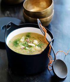 Australian Gourmet Traveller Greek recipe for lamb, pea and fennel soup.