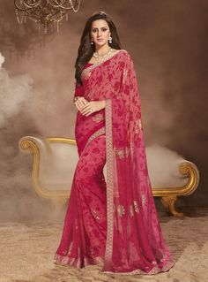 Pink Georgette Printed Saree With Blouse 81148