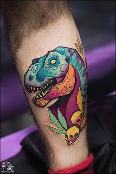 Color Tattoo, Tattoo Art, Body Art Tattoos, New Tattoos, State Tattoos, Dinosaur Tattoos, Different Art Styles, Tattoo Illustration, Anime Tattoos