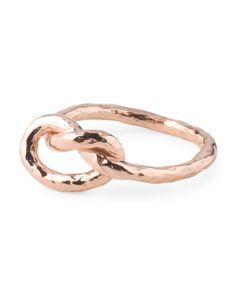 Made In Italy Rose Gold Plated Sterling Silver Knot Ring