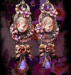 Victorian Cameo Earrings Pastel Fire Opal Earrings Rose by kerala, $58.00