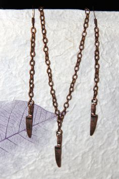 "Knife Pendant w/ 18"" Necklace and Dangling Earrings Set - Antiqued Copper Finish"