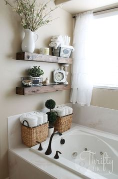 Tutorial for shelves, but interesting idea for bathtub faucet placing. Bathroom DIY Floating Shelves just like the ones from Fixer Upper! Make 2 of these for…