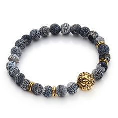 Tiger Eye Lion Head Bracelet Buddha beads Bracelets Charm Natural Stone Bracelet Men pulseras hombre F3224