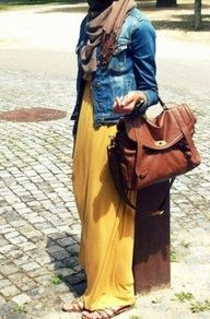 Loving the maxi dress + jean jacket look right now