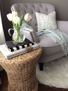 Cozy reading nook - love the tufted chair eclecticallyvintage.com
